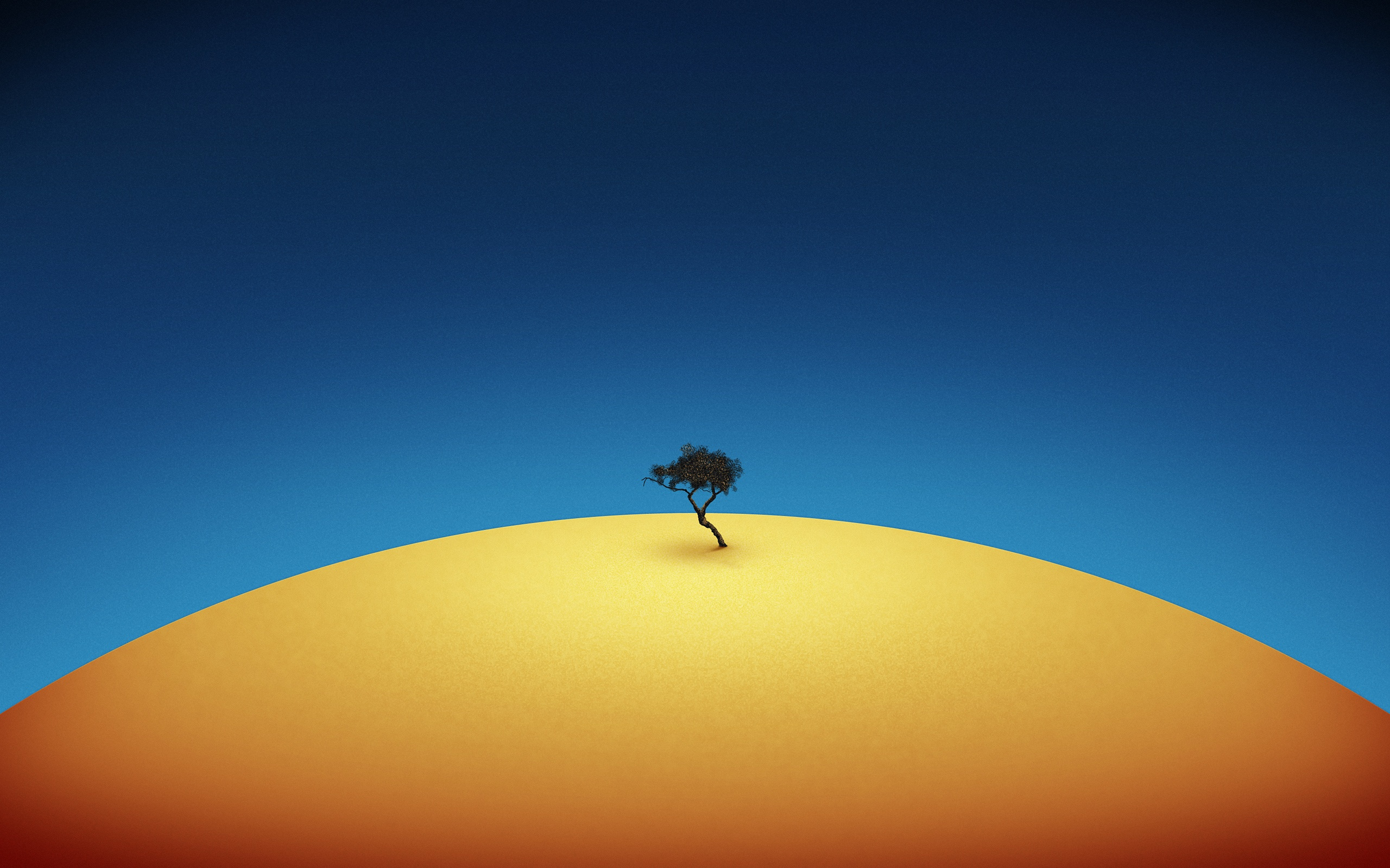 fantasy-earth-yellow-planet-tree-alone-blue-sky-round-2560x1600